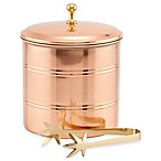 Old Dutch International Copper-Plated Lined Ice Bucket with Brass Tongs