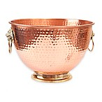 Old Dutch International Copper-Plated Hammered Lion's Head Beverage Tub in Copper