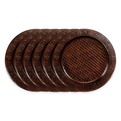 Old Dutch International Versailles Fleur-De-Lis Charger Plates in Brown (Set of  sc 1 st  Bed Bath \u0026 Beyond & Buy Fleur De Lis Dinnerware Set from Bed Bath \u0026 Beyond