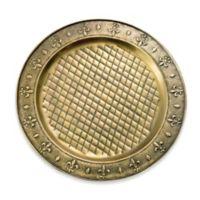 Old Dutch International Antique-Brass-Plated Fleur-De-Lis Charger Plates (Set of 6)