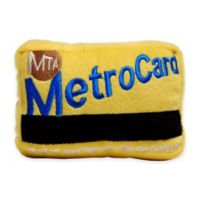 Metro Card Plush Dog Toy with Squeaker in Yellow