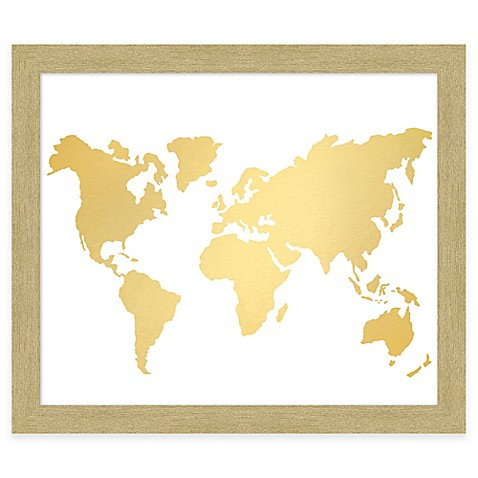 World map gold foil framed wall art bed bath beyond world map gold foil framed wall art gumiabroncs Images