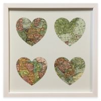 Traveler Map Heart Framed Wall Art