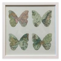 Traveler Map Butterfly Framed Wall Art