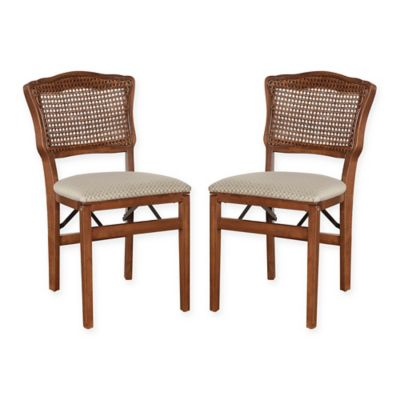 stakmore french cane back wood folding chairs in cherry set of 2