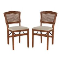 Stakmore French Cane Back Wood Folding Chairs in Cherry (Set of 2)