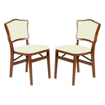 Merveilleux Stakmore French Padded Back Wood Folding Chairs In Fruitwood (Set Of 2)
