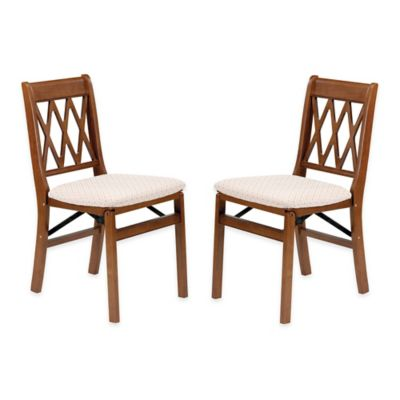 Beau Stakmore Lattice Back Wood Folding Chairs In Fruitwood ( Set Of 2)