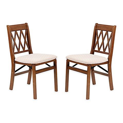 stakmore lattice back wood folding chairs set of 2 bed bath beyond. Black Bedroom Furniture Sets. Home Design Ideas