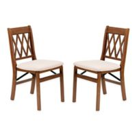 Stakmore Lattice Back Wood Folding Chairs in Fruitwood ( Set of 2)