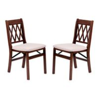 Stakmore Lattice Back Wood Folding Chairs in Cherry ( Set of 2)