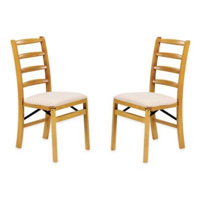 stakmore shaker ladderback wood folding chairs in oak set of 2