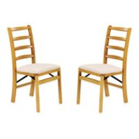 Stakmore Shaker Ladderback Wood Folding Chairs in Oak (Set of 2)