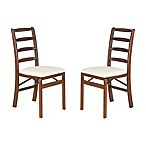 Stakmore Shaker Ladderback Wood Folding Chairs in Fruitwood (Set of 2)