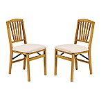 Stakmore Slat Back Wood Folding Chairs in Oak (Set of 2)