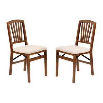 Stakmore Slat Back Wood Folding Chairs In Fruitwood (Set Of 2)