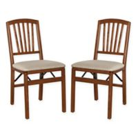 Stakmore Slat Back Wood Folding Chairs in Cherry (Set of 2)