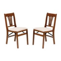 Stakmore Urn Back Wood Folding Chairs in Fruitwood (Set of 2)