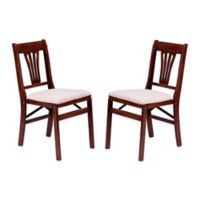 Stakmore Urn Back Wood Folding Chairs in Cherry (Set of 2)