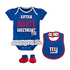 NFL New York Giants Little Sweet Size 18M 3-Piece Creeper, Bib, and Bootie Set