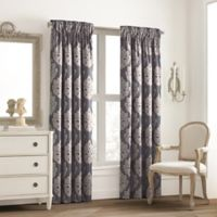 Valeron Glenview Rod Pocket with Pencil Pleat 63-Inch Window Curtain Panel in Steel Blue