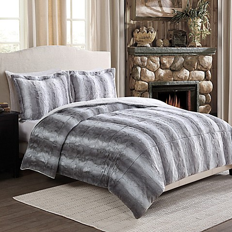 Chinchilla Fashion Fur Reversible Comforter Set In Grey