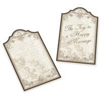 """Lillian Rose™ 24-Pack """"Happy Marriage"""" Wishes Key Tags in Gold"""