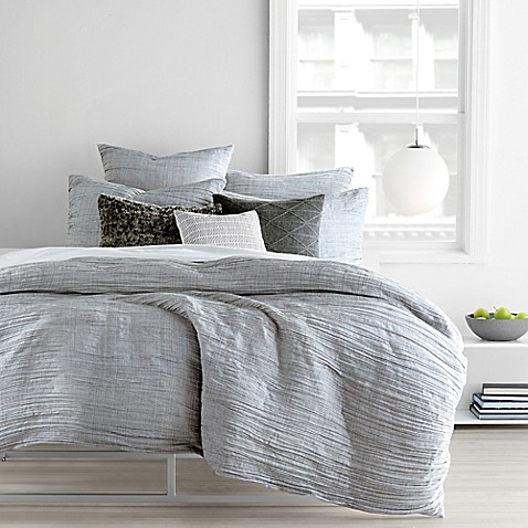 Dkny city pleat duvet cover set bed bath beyond for Types of bed covers