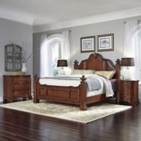 Home Styles Santiago 4-Piece King Bed, Nightstands, and Drawer Chest Set in Cognac