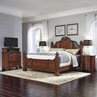 Home Styles Santiago 4-Piece King Bed, Nightstands, and Media Chest Set in Cognac