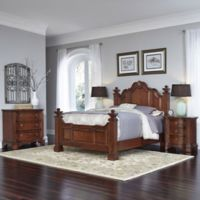 Home Styles Santiago Wood 4-Piece Queen Bed, Night Stand, and Chest Set in Cognac