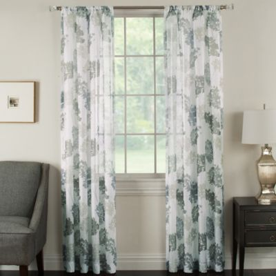 Brinkley Sheer 63 Inch Rod Pocket Waterflower Window Curtain Panel In Glacier