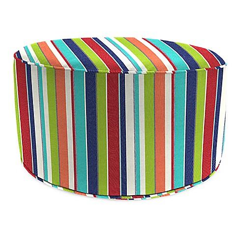 Outdoor round pouf ottoman in sunbrella carousel confetti for Ulani outdoor round pouf ottoman