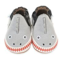 Robeez® Soft Soles™ Size 0-6M Dinosaur Dan Crib Shoe in Grey 572482430ac