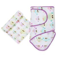 MiracleWare Owls Miracle Blanket and Muslin Swaddle Set in Purple/Yellow