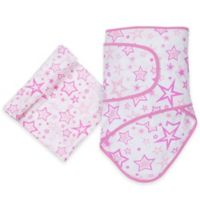 MiracleWare Stars Miracle Blanket and Muslin Swaddle Set in Pink