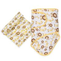 MiracleWare Giraffe and Lion Miracle Blanket and Muslin Swaddle Set in Brown/Yellow