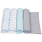 MiracleWare 4-Pack Stars/Stripes/Chevron Muslin Swaddles in Blue/Grey