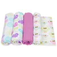 MiracleWare 4-Pack Bursts/Butterflies/Owls Muslin Swaddles in Orchid/Pink