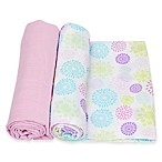 MiracleWare 2-Pack Colorful Bursts Solid Muslin Swaddles in Purple/Pink