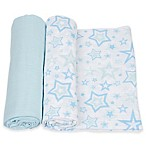 MiracleWare 2-Pack Stars Muslin Swaddles in Blue