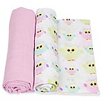 MiracleWare 2-Pack Owls Muslin Swaddles in Pink