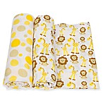 MiracleWare 2-Pack Dots/Giraffe & Lion Muslin Swaddles in Yellow/Brown