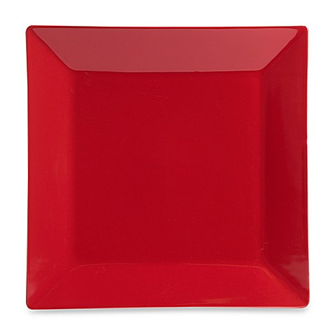 real simple square dinner plate in red bed bath beyond