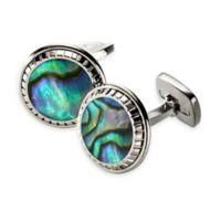 M-Clip® Stainless Steel and Abalone Carved Round Cufflinks in Green