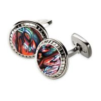 M-Clip® Stainless Steel and Abalone Carved Round Cufflinks in Orange