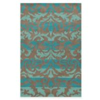Rizzy Home Bradberry Downs Ikat Damask 8-Foot x 10-Foot Area Rug in Teal