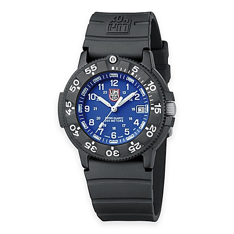 Luminox men 39 s original navy seal 43mm blue dial dive watch with black rubber strap bed bath - Navy seal dive watch ...