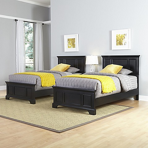 home styles bedford two twin beds and nightstand set in