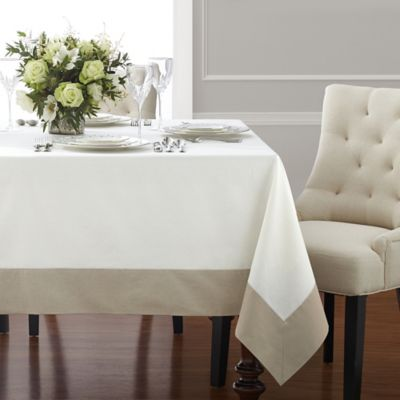 Wamsutta® Bordered Linen 90 Inch X 70 Inch Oblong Tablecloth In Natural